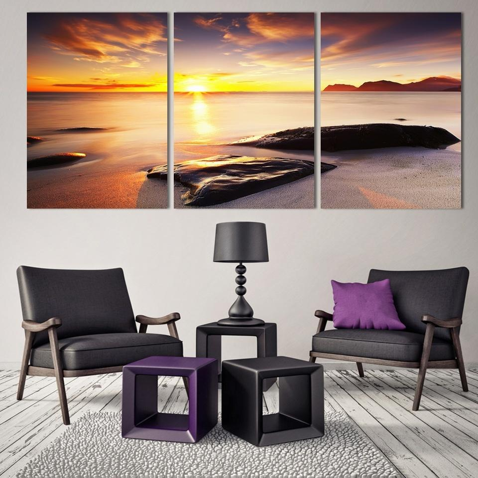 office artwork canvas. Interesting Artwork 3 Piece NO Framed Canvas Photo Prints Sea Sunset Home Office Artwork Giclee  Paintings Decor And O
