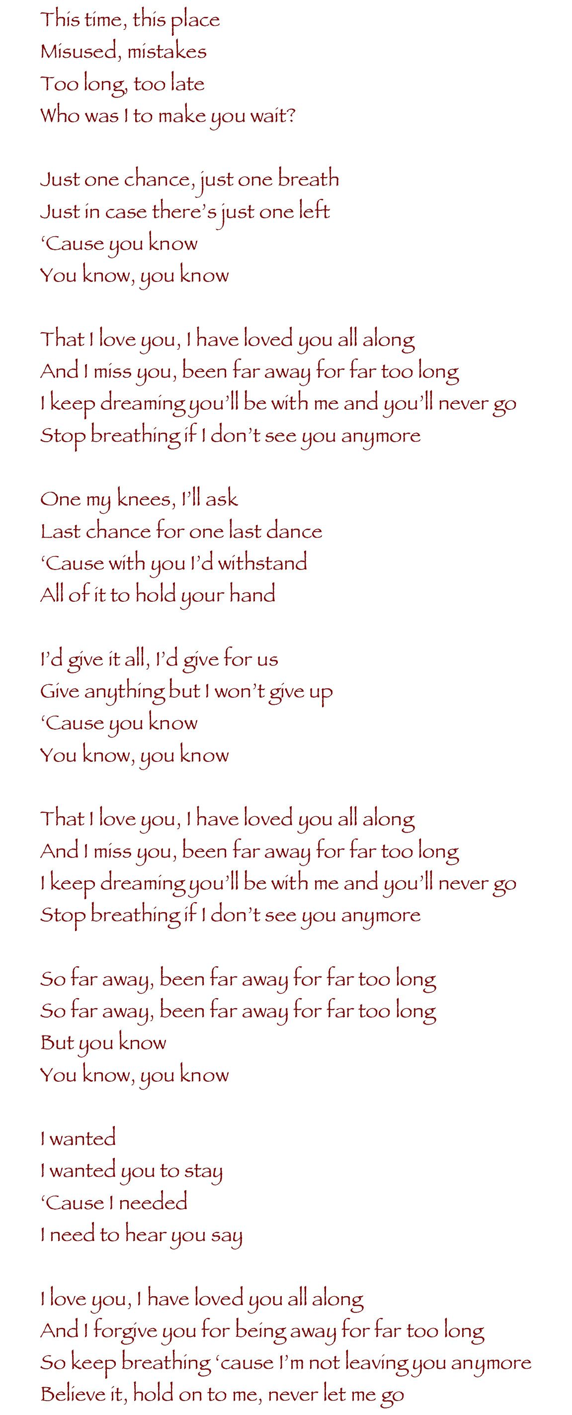 Nickelback Far Away 3 Nickelback Lyrics Favorite Lyrics
