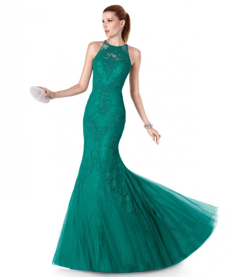 Vestidos de noche color azul jade