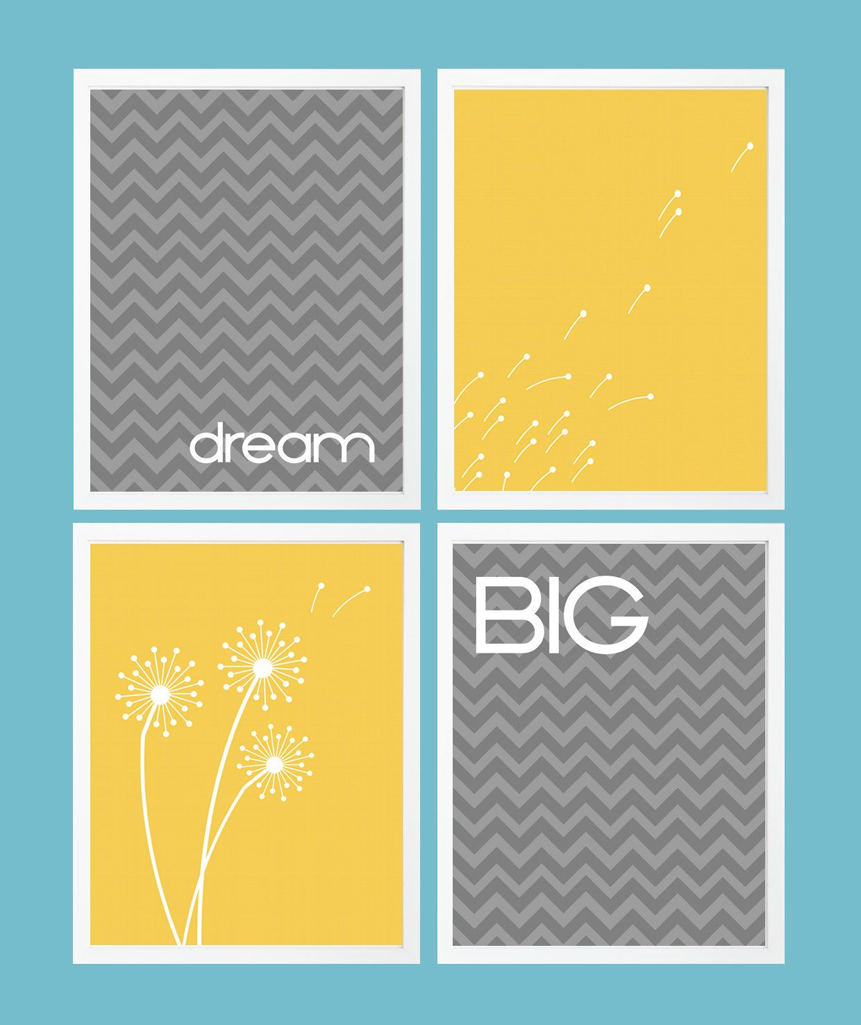 Dandelion Wall Art Modern Dream Big Custom Design: Set of 4 Prints ...
