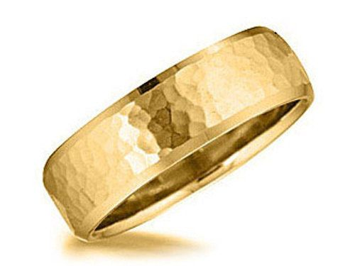 Mens Hammered 14K Yellow Gold 7 MM Wedding Ring Band Size 7 12