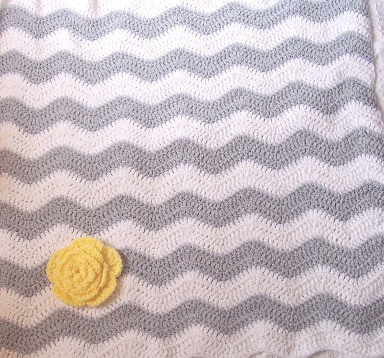 Yellow & Gray Chevron Baby Blanket- Zig Zag Baby Blanket- Crochet ...