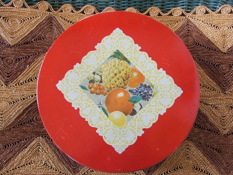 Vintage Fruit Theme Fruitcake Tin by lookonmytreasures on Etsy