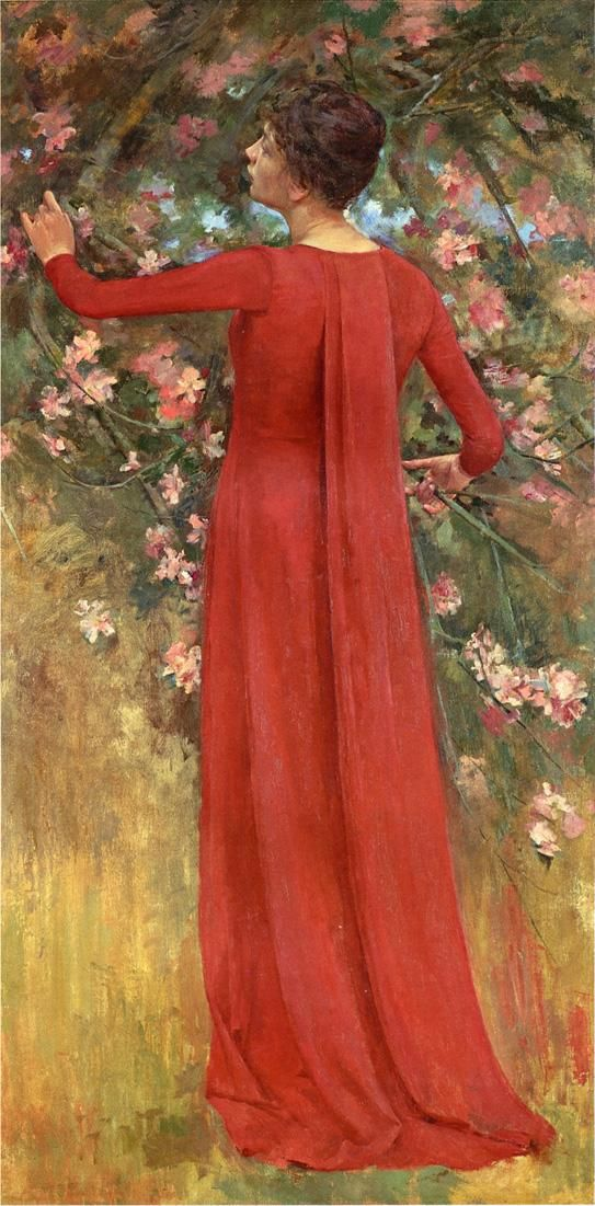 The Red Gown by Theodore Robinson