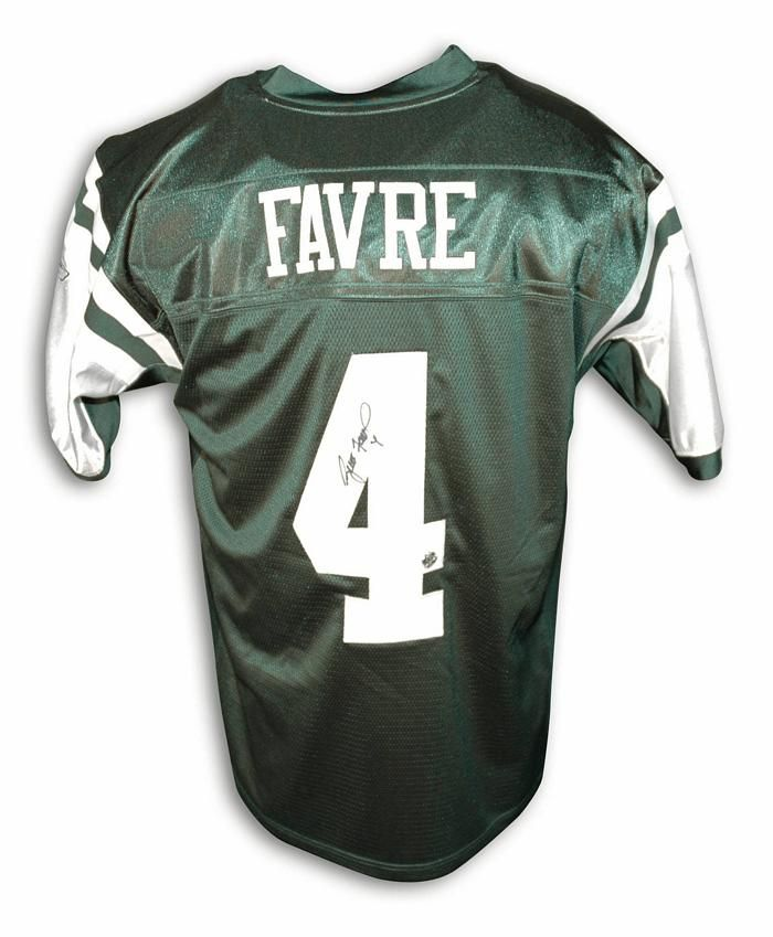 e3f9078ea30 Autographed Brett Favre New York Jets Reebok Authentic Green Jersey with Favre  Hologram