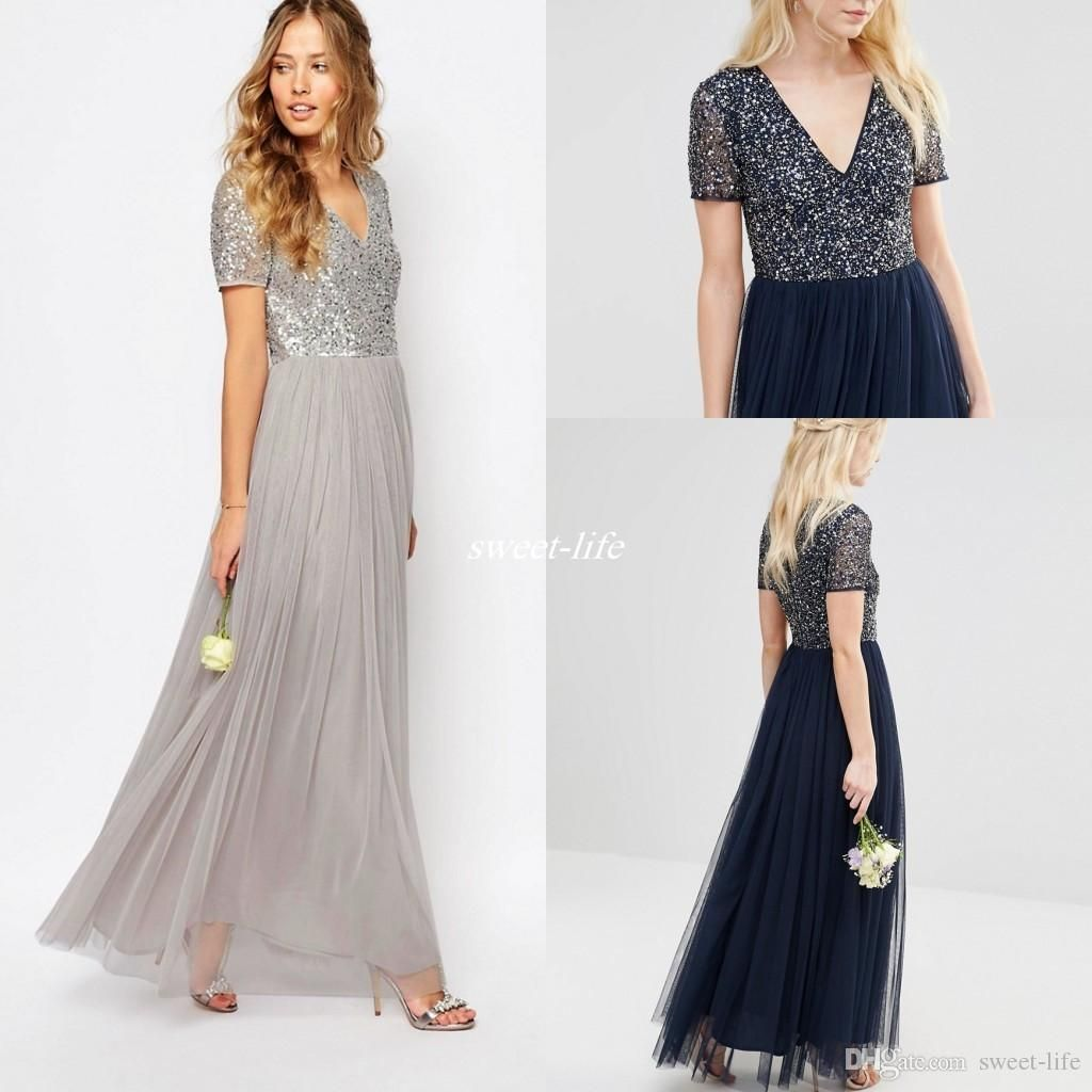 Modest Sparkly Sequins Tulle Bridesmaid Dresses Short Sleeve V ...