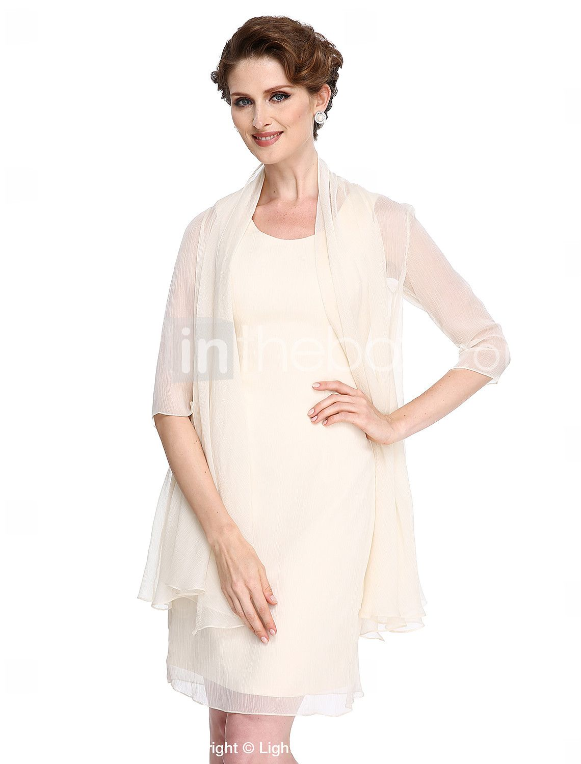 Sheath column scoop neck knee length chiffon mother of the bride