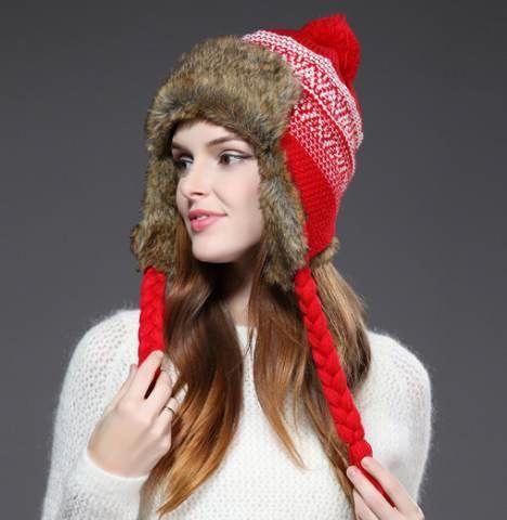 35f0f1568ca45 Hairball knit bomber hat for winter womens fleece hats  HatsForWomenWinter   ballhatsforwomen