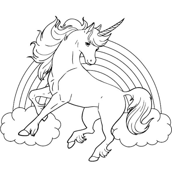 Marvelous Unicorn Horse With Rainbow Coloring Page For Kids