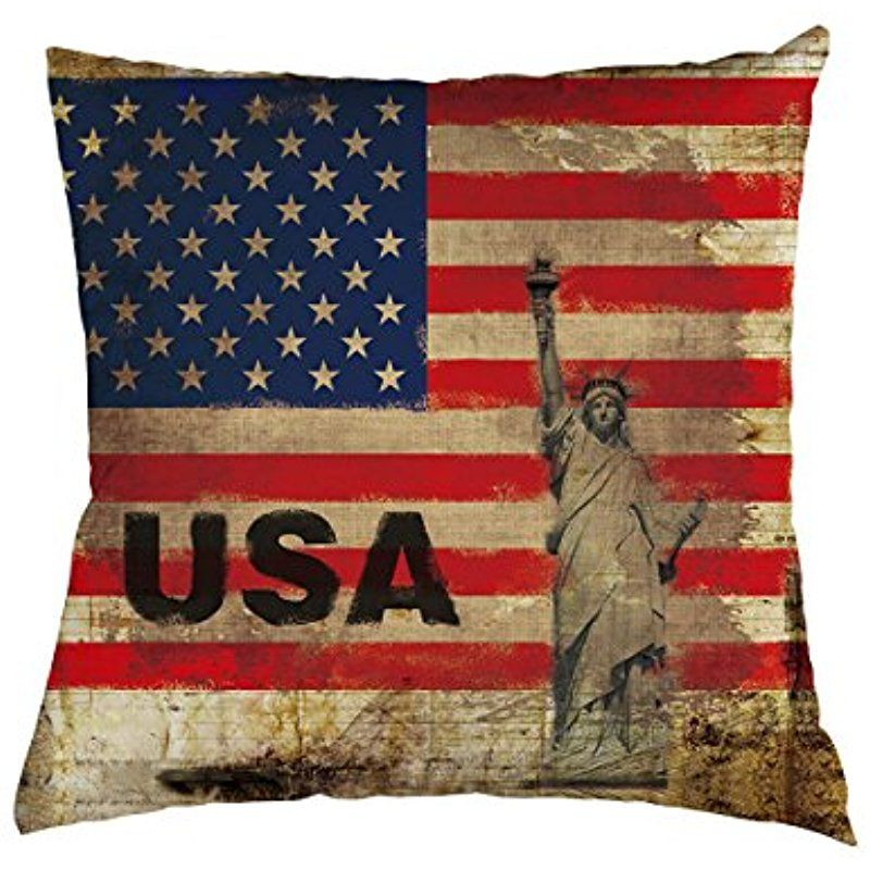 USA Flag Throw Pillow Case Statue Of Liberty And American Flag New American Flag Decorative Throw Pillow