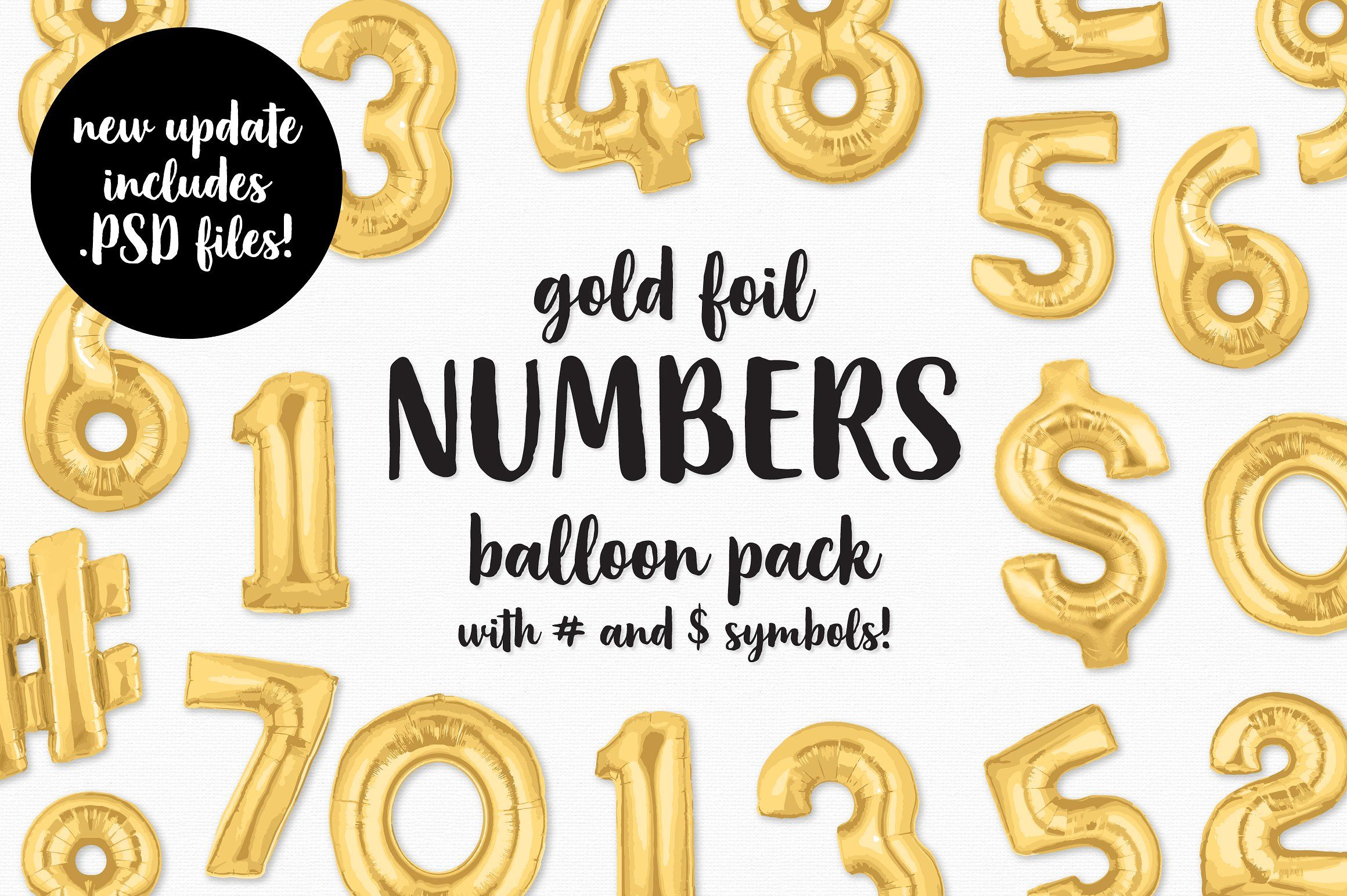 Gold Foil Number Balloon Pack Foil number balloons