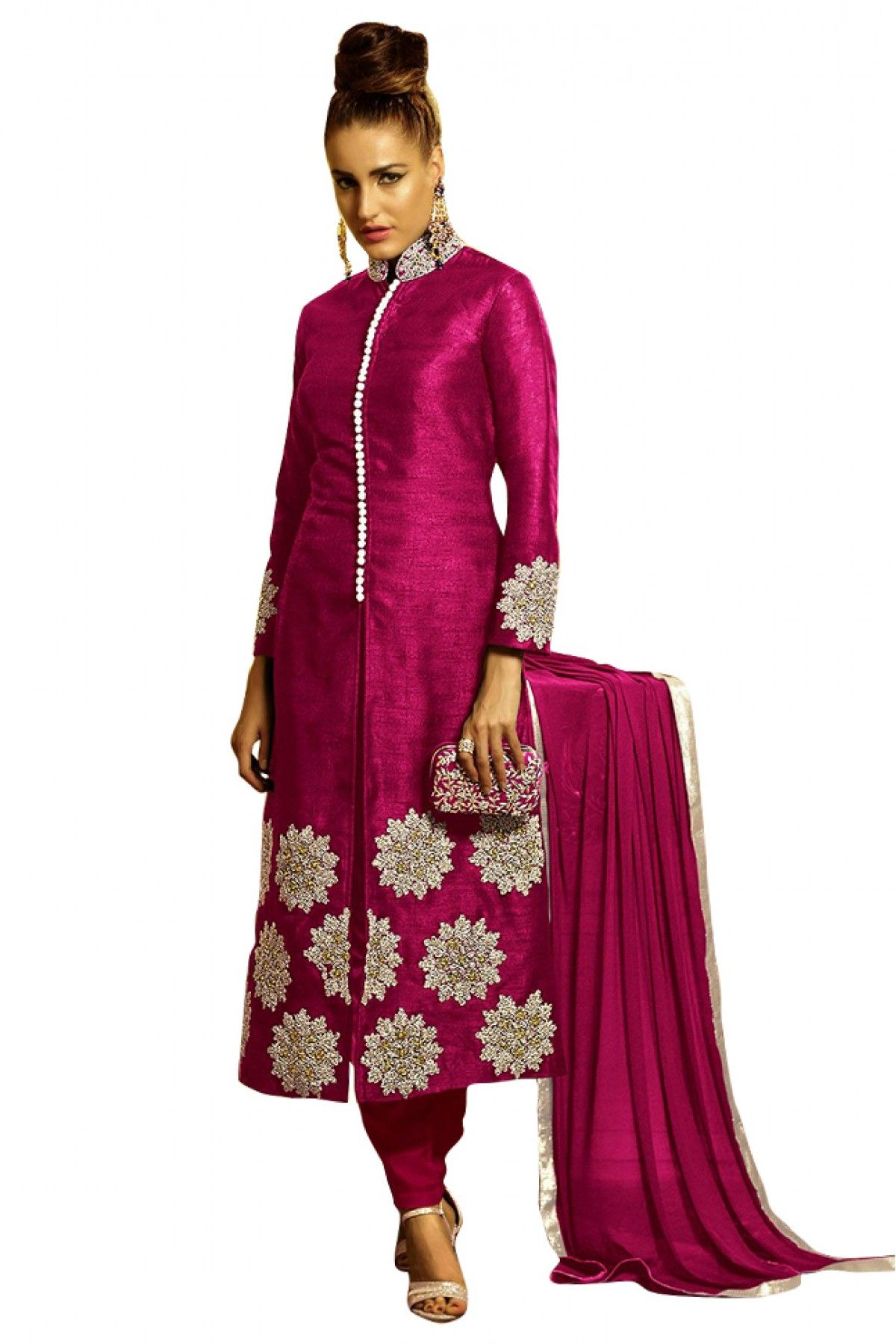 Bhagalpuri-Silk-Embroidery-Straight-Salwar-Suit-in-Pink-Colour-A ...