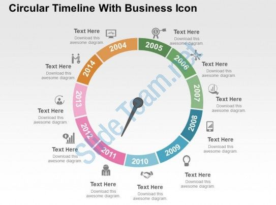circular timeline with business icon flat powerpoint design - sample powerpoint timeline