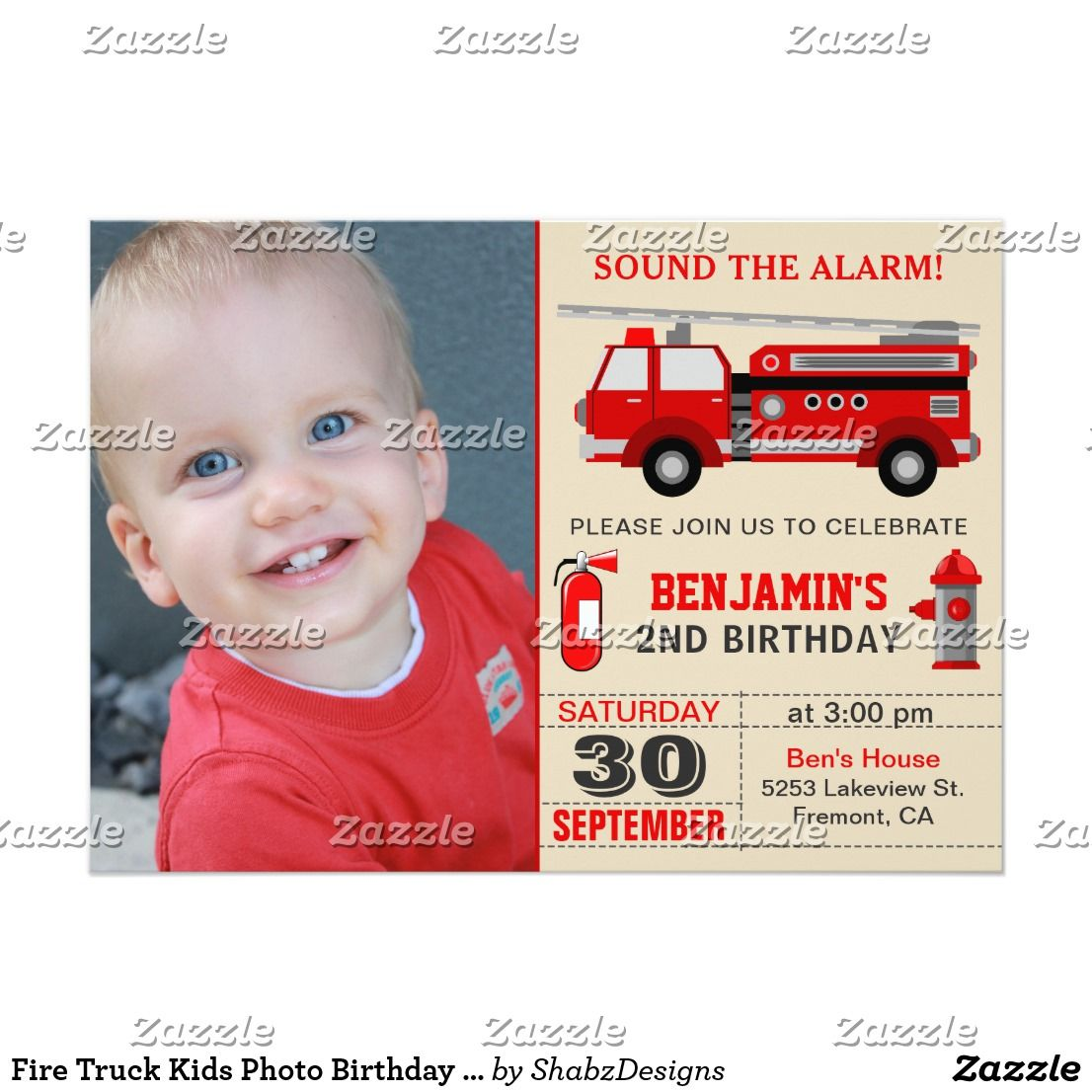 Fire Truck Kids Photo Birthday Party Invitation   Kids 2-12 Birthday ...