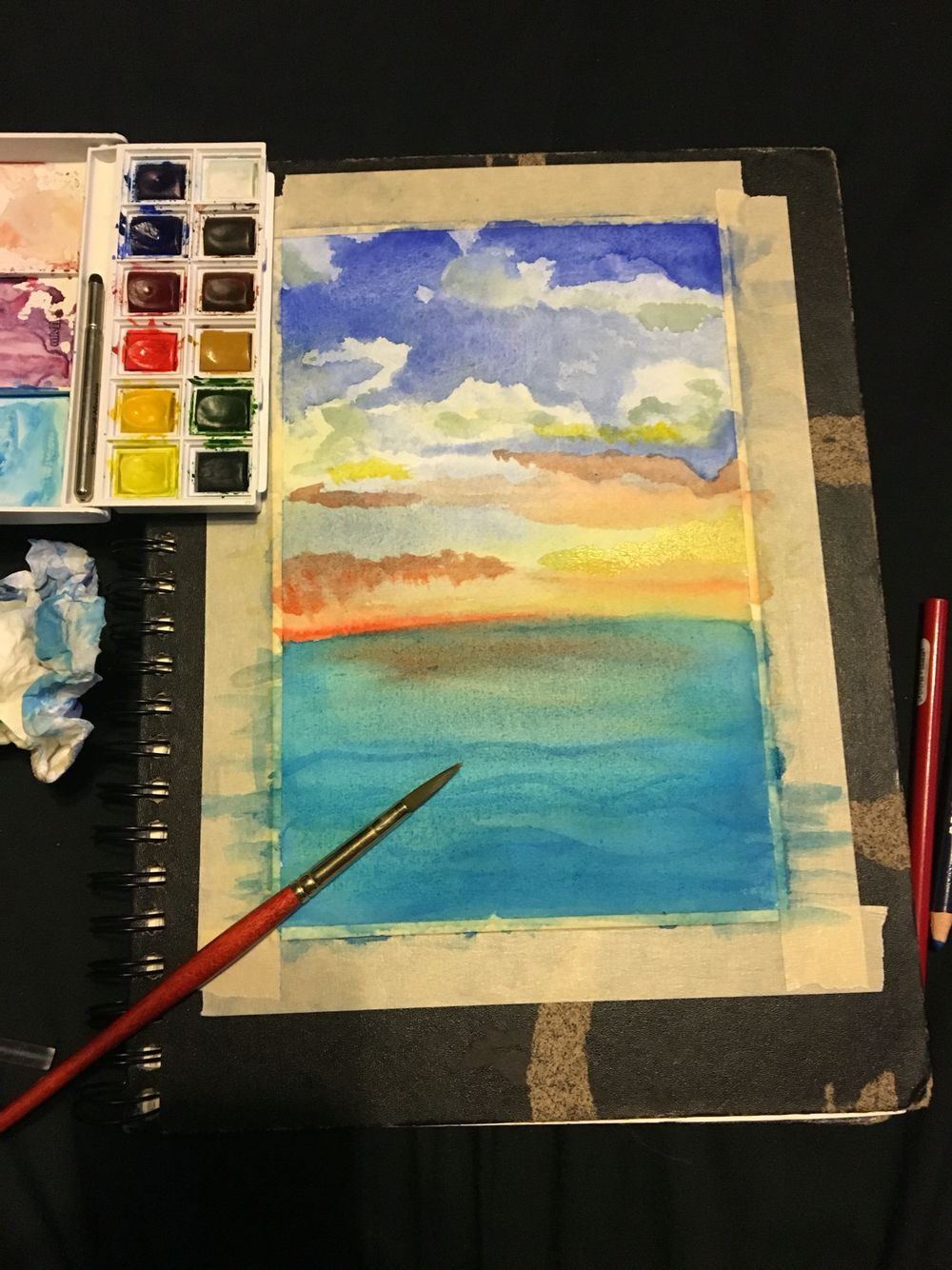 Quick night time painting🌅💙 #originalpiece