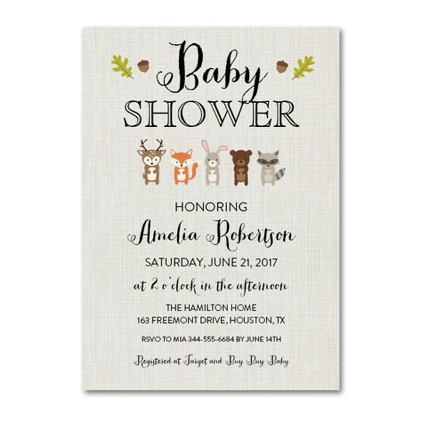 editable pdf baby shower invitation diy rustic woodland animals