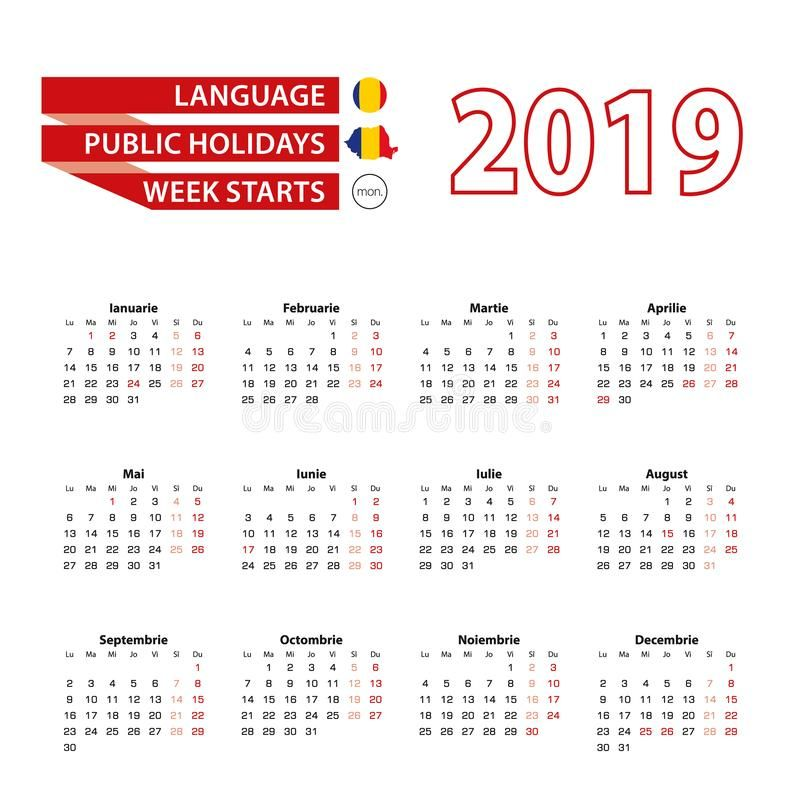 Calendar 2019 In Romanian Language With Public Holidays The