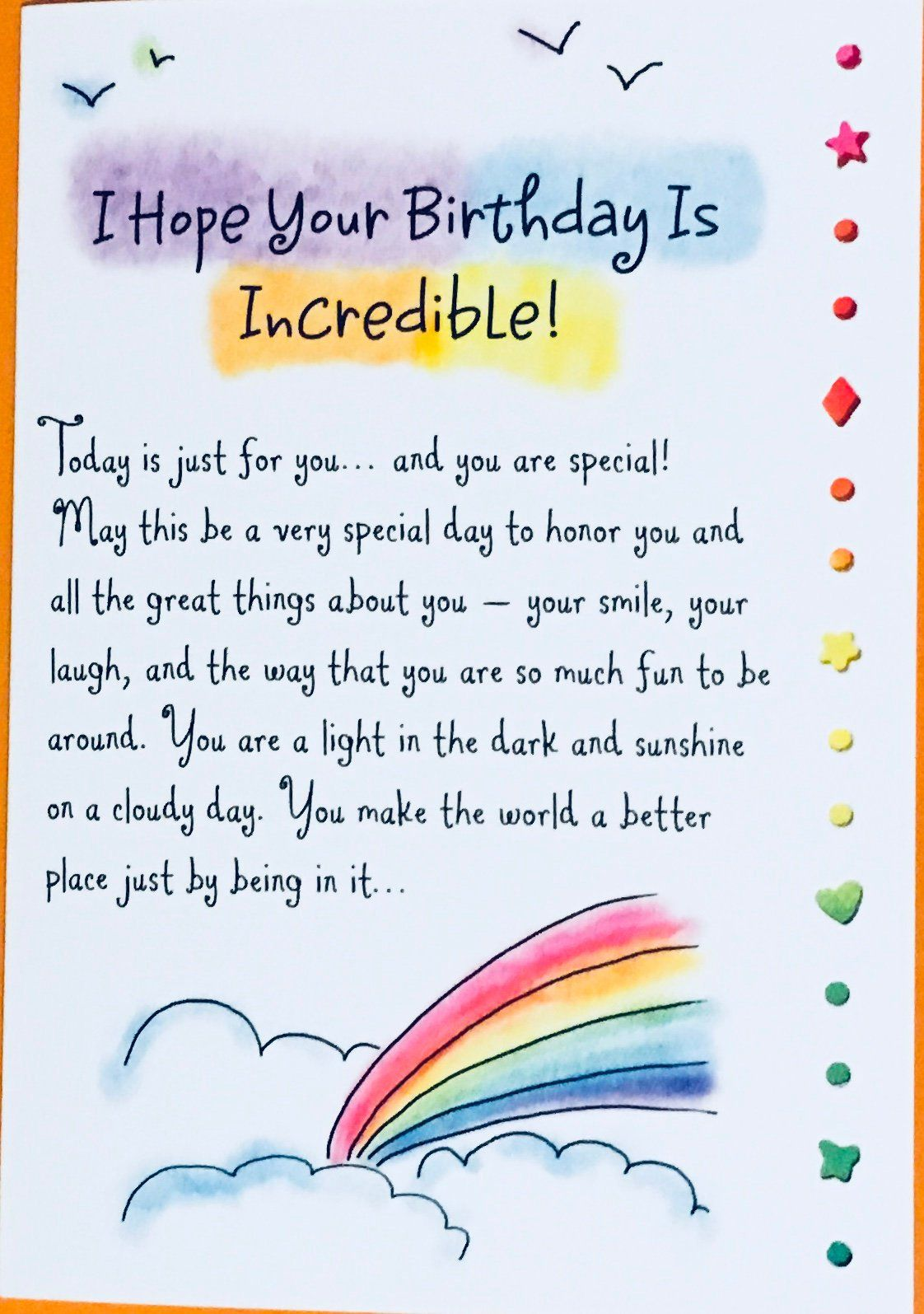 Hope Your Birthday Is Incredible Birthday Greeting Card Bday Card Happy Birthday Wishes Quotes Birthday Wishes Quotes Birthday Wishes For A Friend Messages