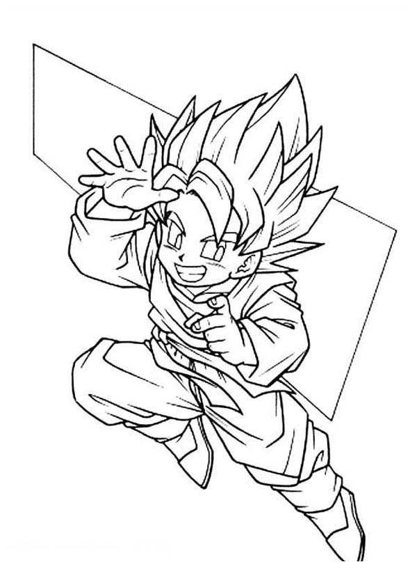 Cute Goku Super Saiyan 2form In Dragon Ball Z Coloring Page Kids Play Color Dragon Ball Z Dragon Ball Coloring Pages