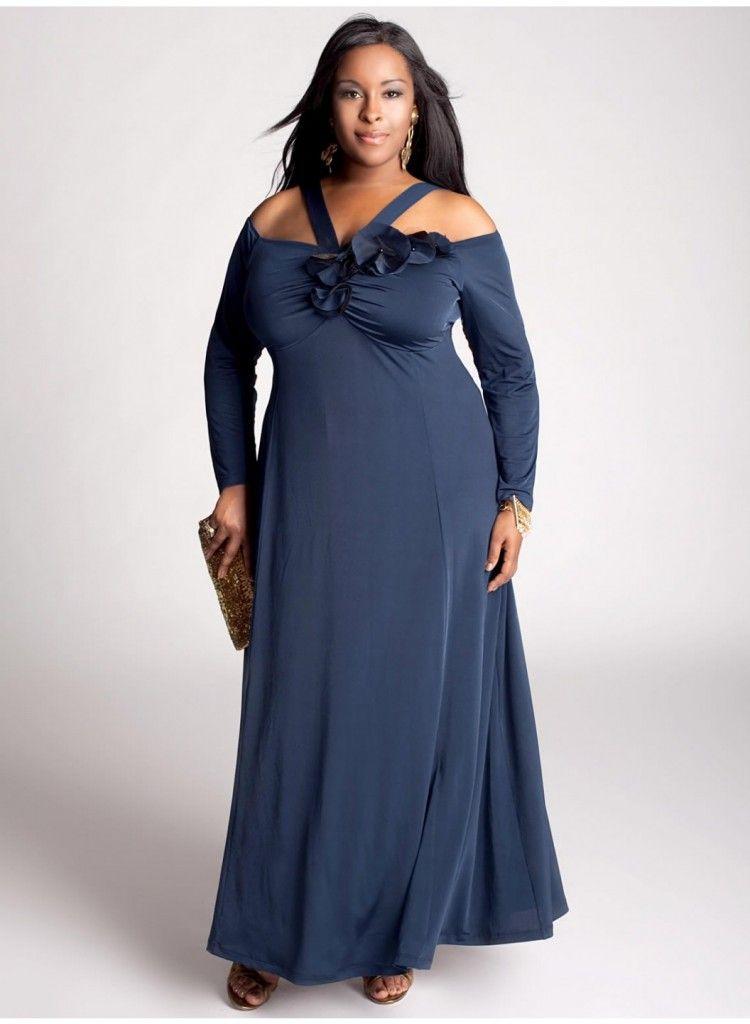 839477cd8ec8 Vestido de Fiesta de color Azul para Gorditas   Vestidos de Fiesta ...