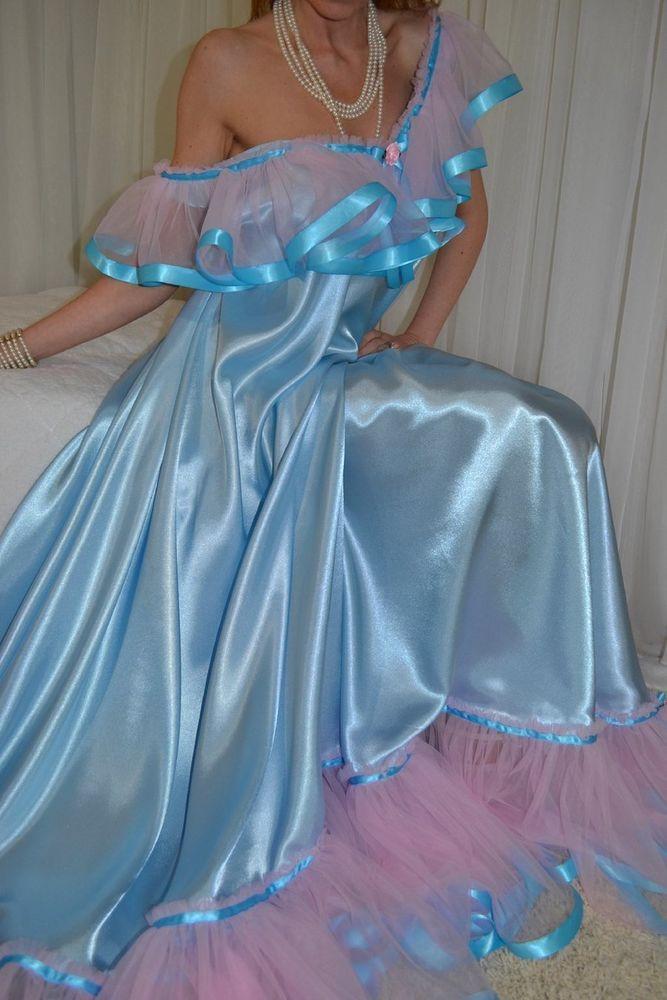 12cfb8001c VTG Lingerie Silky Satin Nylon Slip Negligee FULL Sweep LONG Nightgown Sz  XXL 2X