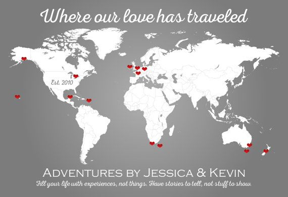 Personalized Map Love Travels Personalized World Map Personalized - Map of where i traveled