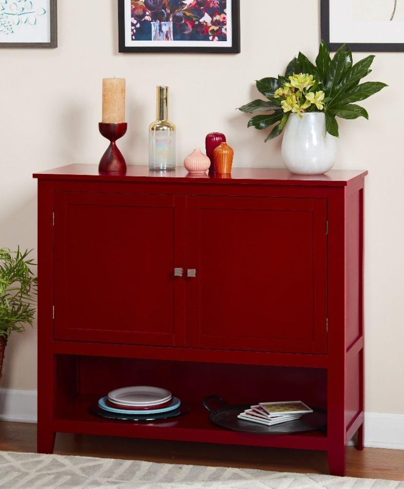 Modern Red Metal Wood Montego Buffet Adjule Shelves Cabinets Furniture