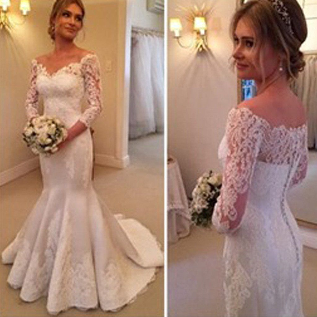 Satin And Lace Wedding Gowns: Charming Off Shoulder Long Sleeve Mermaid White Satin Lace