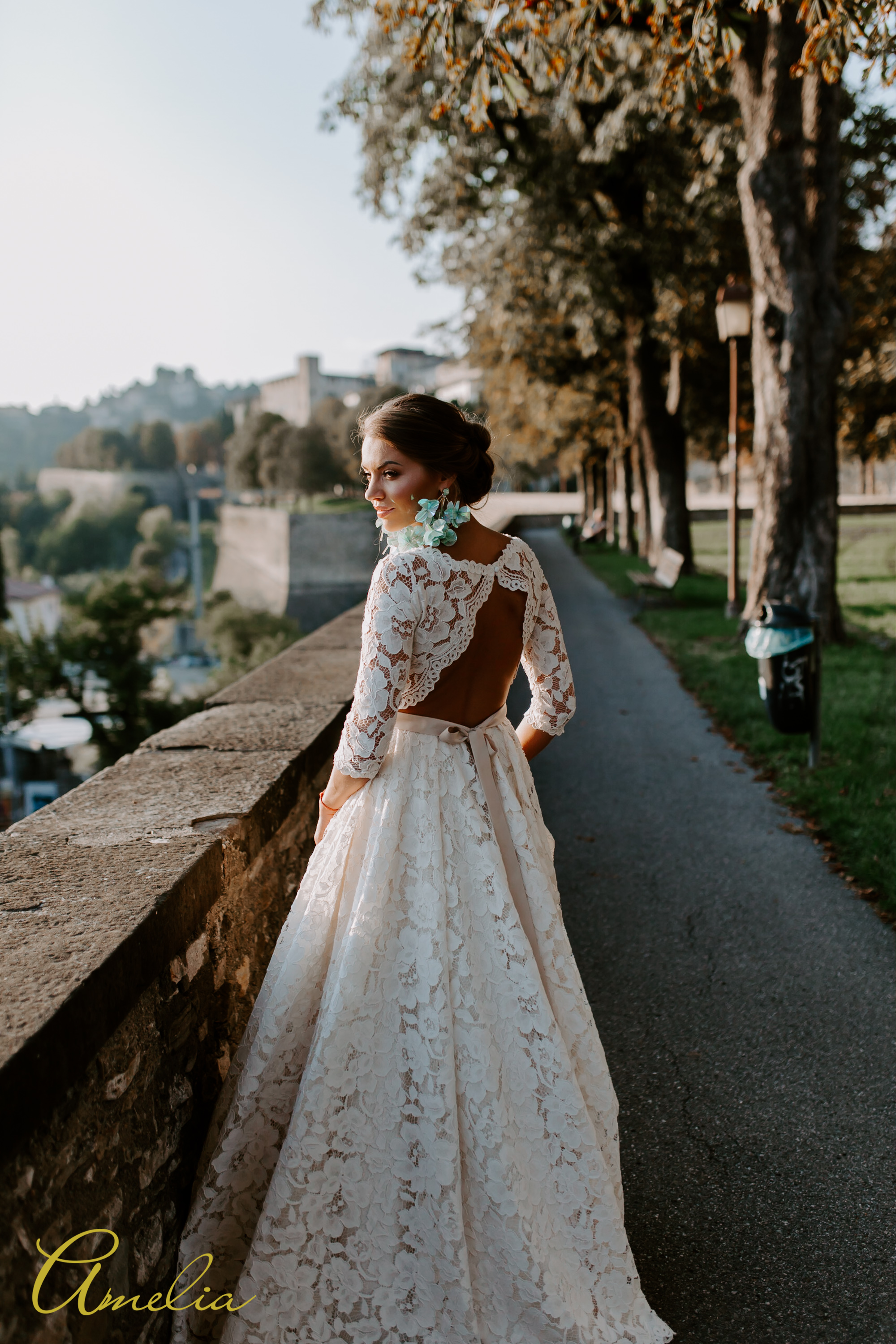 Simple yet outstanding lace wedding dress with long sleeves by