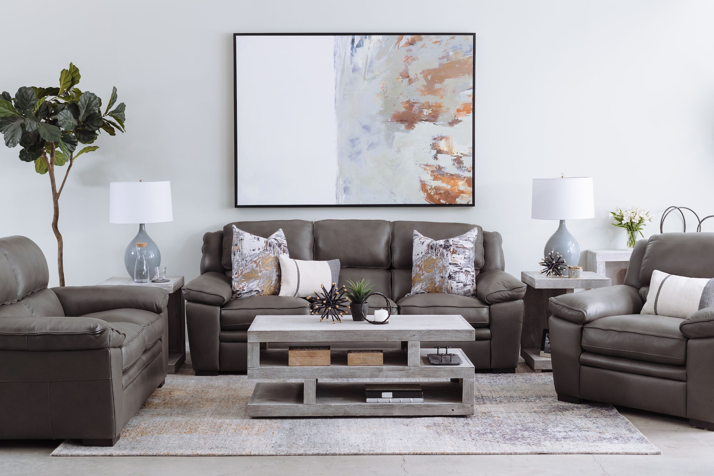 Casual Leather Sofa In Charcoal Contemporary Style 2019