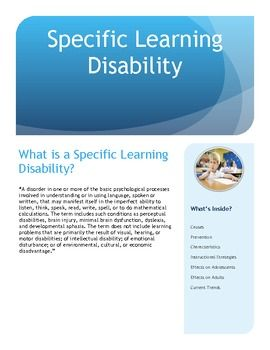 Specific Learning Disability Brochure For Parents And Teachers Learning Disabilities Special Education Courses Learning Differences