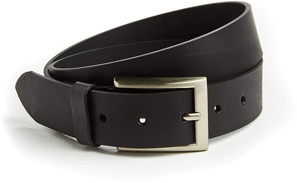 Men's Classic Leather Belt 35mm Black, All Sizes, Real