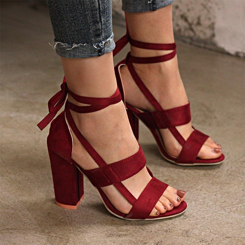 Women Shoes Thick High Heeled Suede Straps Party Club Sandals 6 Colors