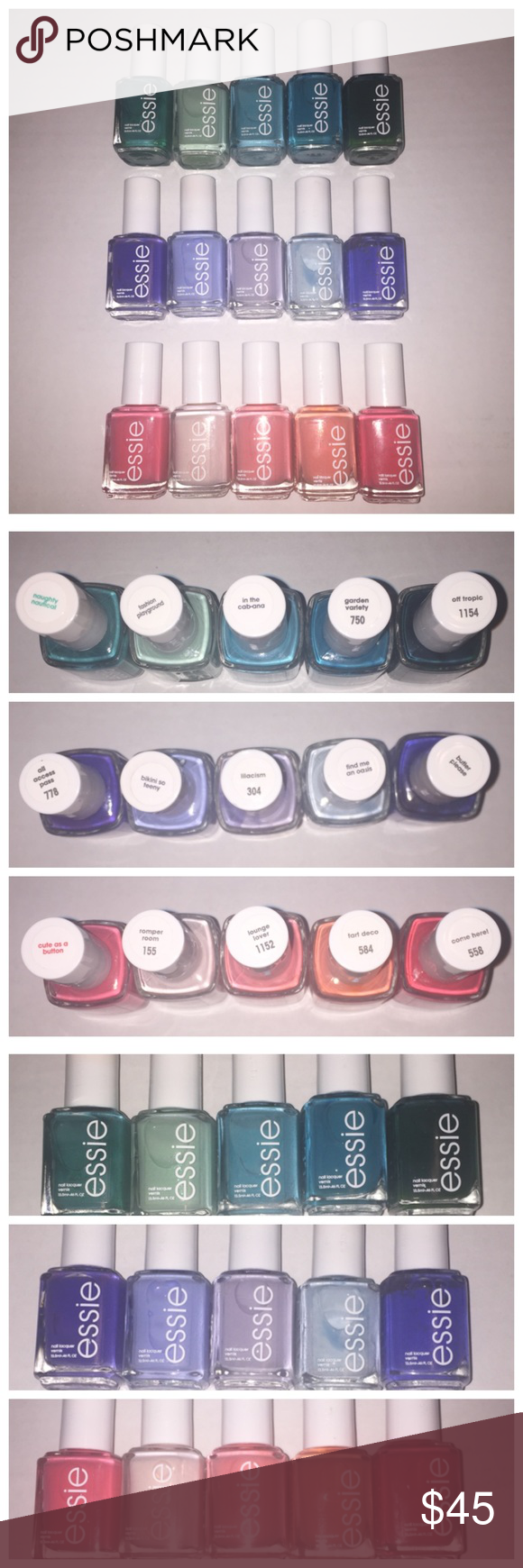 15 brand new Essie nail polishes 15 Brand New Essie Nail-polishes  Never used. Never opened.   Naughty Nautical, Fashion Playground, In the Ca-Bana, Garden Variety, Off Tropic  All Access Pass, Bikini SoTeeny, Lilacism, Find Me An Oasis, Butler Please  Cute As A Button, Romper Room, Lounge Lover, Tart Deco, Come Here! Essie Accessories