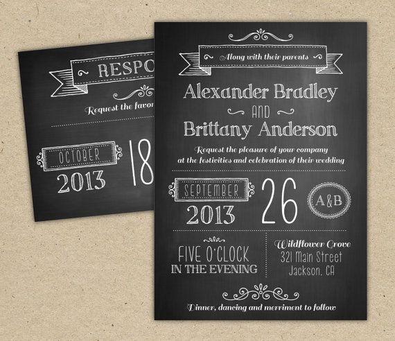 Wedding Invitation Chalkboard Modern Invitation Template Diy