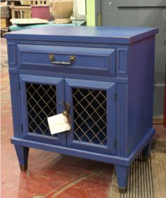Vintage End Table With Cabinet And Drawer Storage, Painted Dark Blue,  Distressed, And Finished With Poly. Love The Combination Of The Brass  Hardware And The ...
