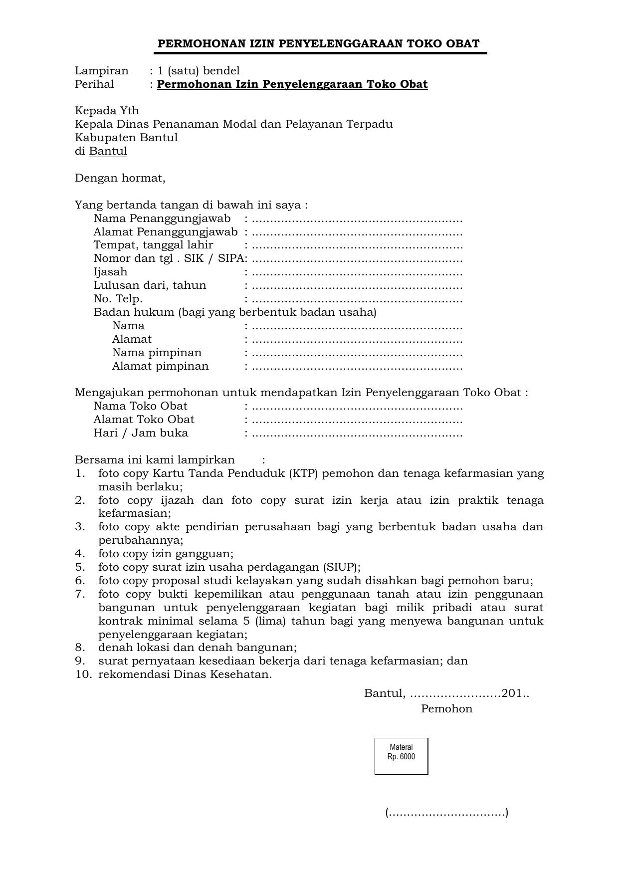 Contoh Surat Izin Apotek di 2020 Tanggal, Tanda, Nama