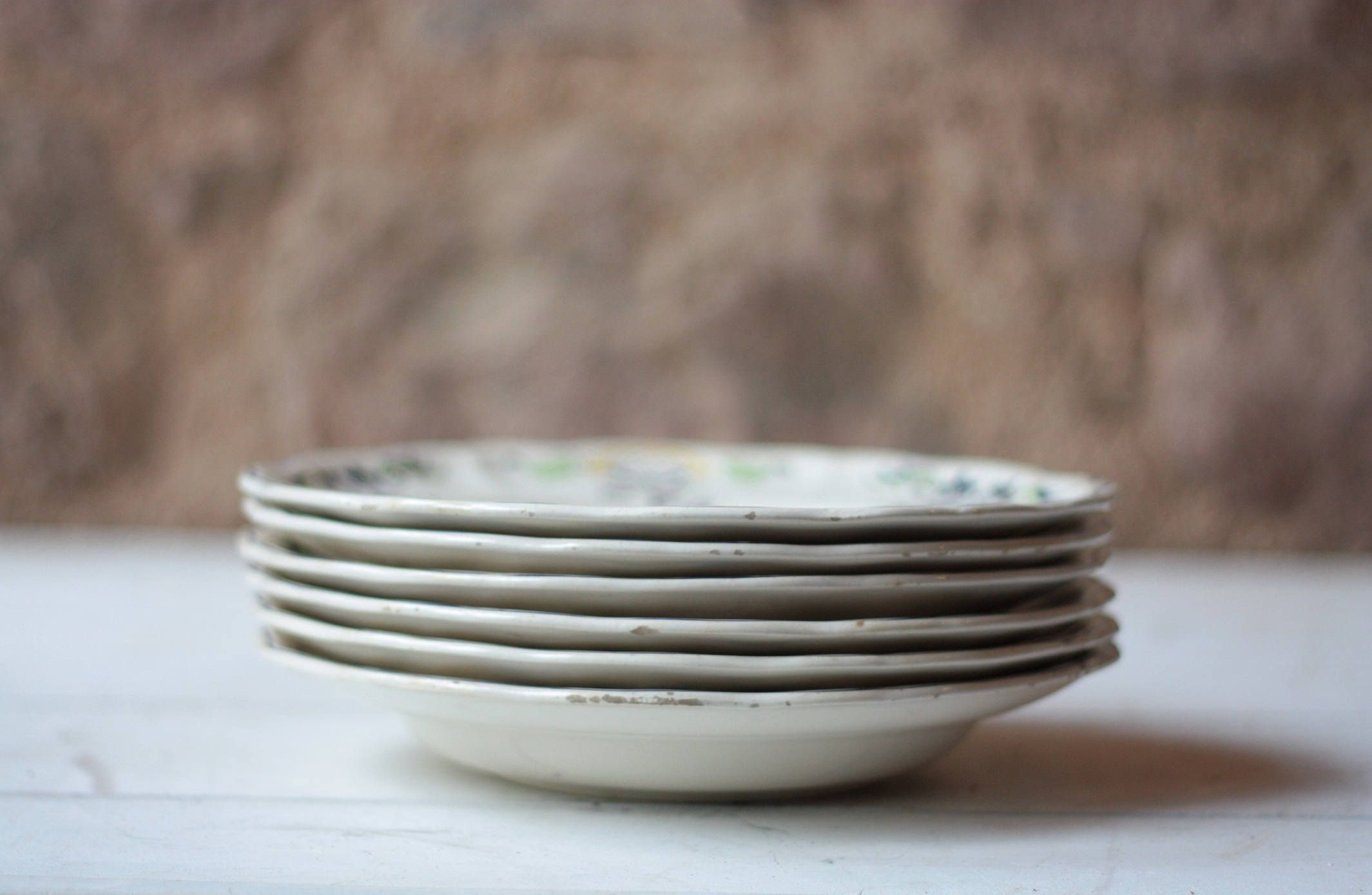 Set of 6 Vintage French Ironstone Soup Bowls - Longchamp Clery by FarmGateVintage on Etsy