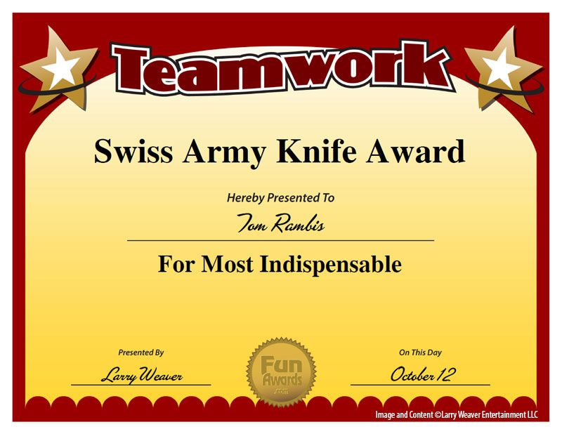 Swiss army knife award mops pinterest swiss army knife swiss funny awards site featuring hundreds of silly awards humorous certificates and printable templates for employees office coworkers teachers and friends yelopaper Image collections
