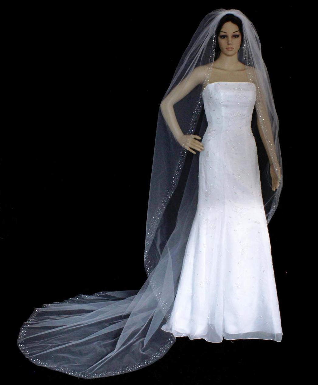 Crystal and Rhinestone Beaded Edge Cathedral Wedding Veil