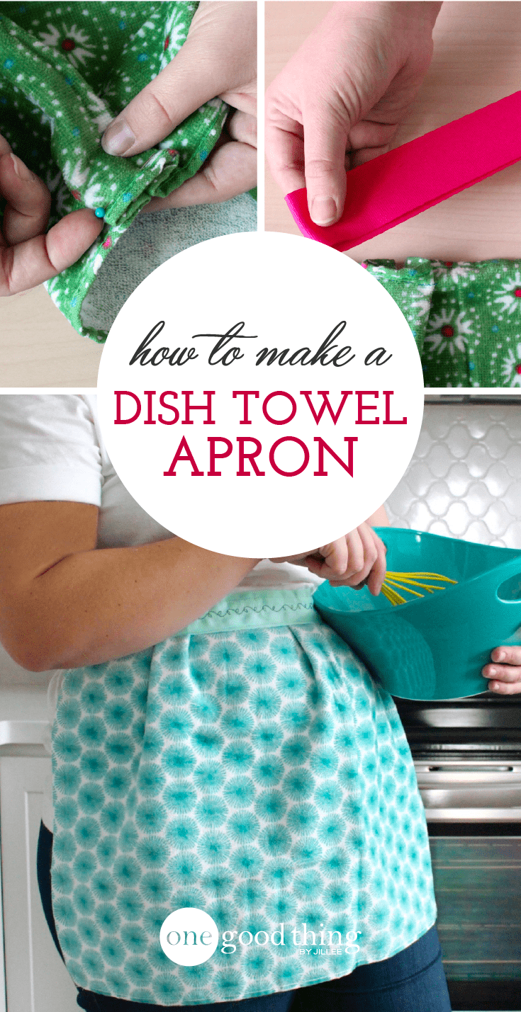 How To Make A Cute And Easy Apron Out Of A Dish Towel #dishtowels