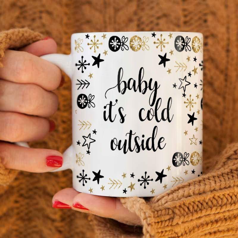 Kubek Swiateczny Na Prezent Baby Its Cold Outside Baby Cold Glassware Mugs
