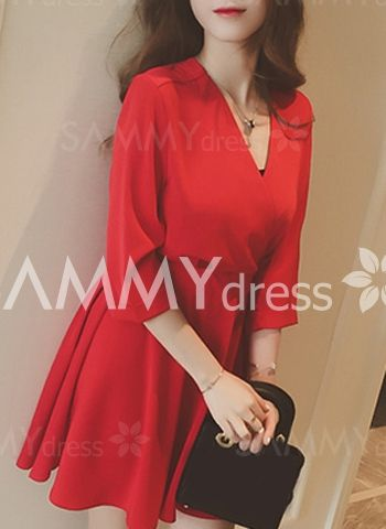 Solid Color Elastic Waist OL Style V-Neck 3/4 Sleeve Dress For Women