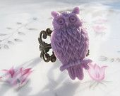 Purple Owl Brass Ring
