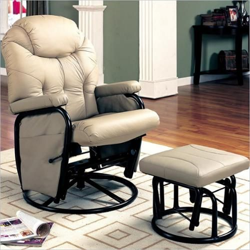 Superbe Coaster Leatherette Gliding Recliner Chair With Ottoman In Bone   7292    Lowest Price Online On All Coaster Leatherette Gliding Recliner Chair With  Ottoman ...