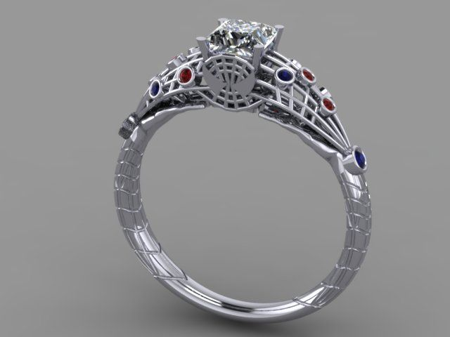 SpiderMan Engagement Ring 14K white gold CUSTOM Spiderman