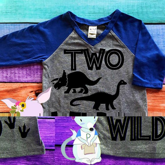 Two Wild Dinosaur 2nd Birthday Shirt Baseball Style Boys