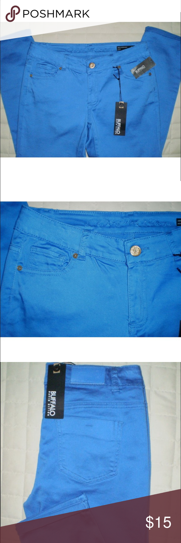 David Bitton Buffalo Jeans Bright blue David Bitton buffalo jeans. Size 26. 98% cotton 2% spandex. Has some stretch to them but not as much as a jegging. Last photograph is the accurate color. Mid rise. Worn once. Beautiful pants! Although there are tags in the first few photos I had to remove them when I decided to wear them. Only worn once!!! Buffalo David Bitton Jeans Ankle & Cropped