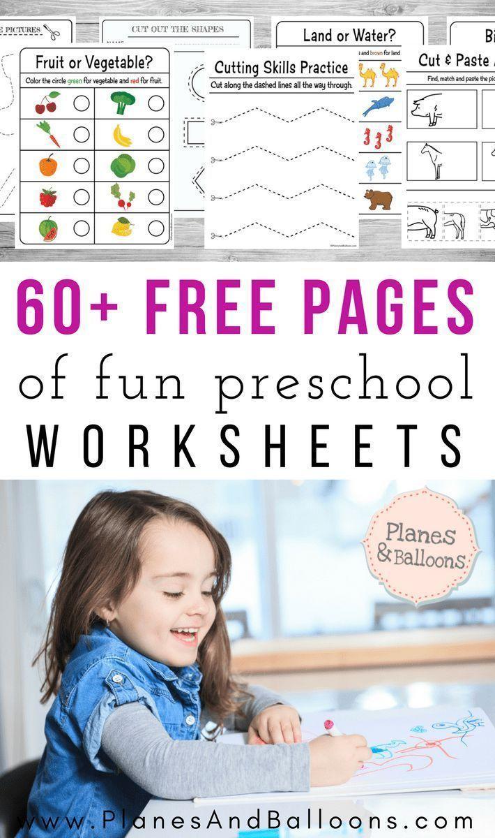 200+ Free preschool worksheets in PDF format to print - Planes & Balloons