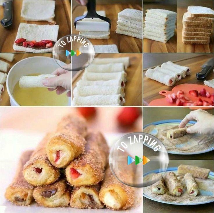 Rollitos De Tostadas Francesas De Fresa Queso Crema Y Chocolate